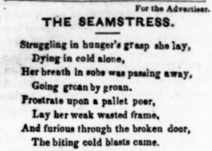 "Excerpt from ""The Seamstress"", a poem written for the Plymouth Advertiser (November 5, 1853, Image 1, col. 1)."