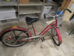 The mystery bike waiting in the storeroom for cleaning and identification.