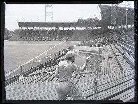 Burkhart painting at Red Bird Stadium, 1948, Ohio History Connection Collections, AV 58.