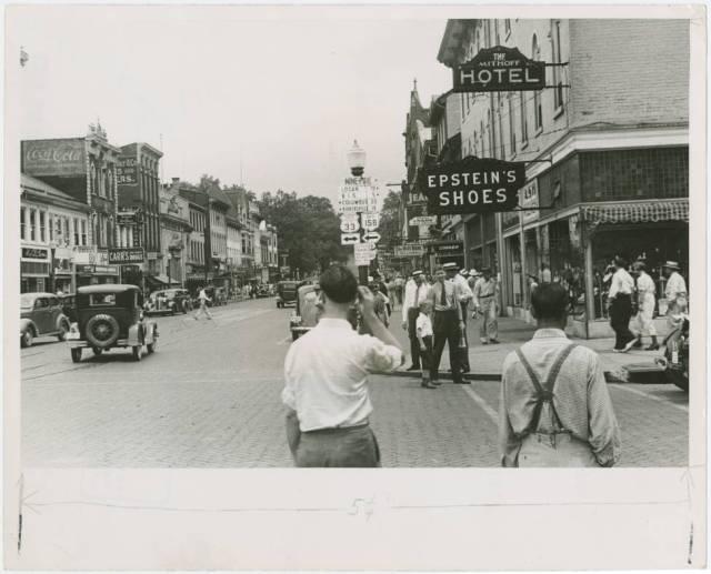 Main Street in Lancaster, Ohio, August 1938 by FSA photographer Ben Shahn.
