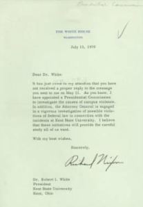 Letter sent from President Nixon to Kent State University President Robert White, May 4th Collection, Ohio History Connection archives.