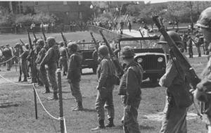 National Guard troops lined up on the Kent State University campus, May 4, 1970.