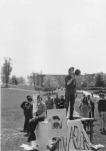 Anti-war protesters demonstrate on the Kent State University campus.