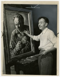 Photo of Emerson Burkhart working on a self portrait, from the Ohio History Connection Collections, SC 22.