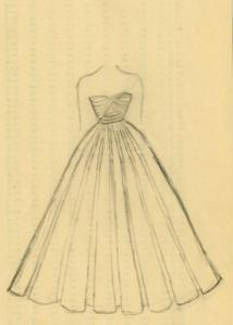 Sketch of ball gown designed by Harold Curmode.