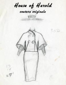 "Sketch of a ""House of Harold Couture Original."""