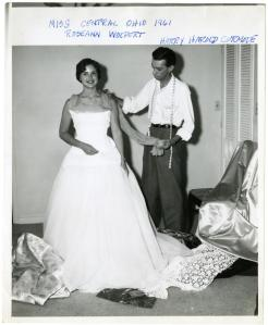 Miss Central Ohio, Roseann Wolpert, being fitted for a competition gown in 1961.