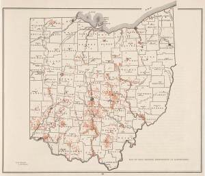 Map showing the distribution of earthworks from the Archaeological Atlas of Ohio published in 1914 by the Ohio Archaeological and Historical Society. William C. Mills is listed as the sole author. He gave no credit to either Moorehead or Allen in spite of the fact that they initially recorded more than 60% of these sites.