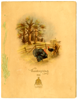 Front cover of Chittenden Hotel Thanksgiving dinner menu, 1910