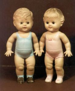 Courtesy of the Barberton Public Library, these Tod-L-Tim and Tod-L-Dee rubber dolls were created by the Sun Rubber Company.