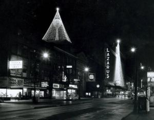 From the Lazarus Family Collection, Tree of Lights on The F. & R. Lazarus Company water tower, on West Walnut and West Town Streets, ca. 1965.