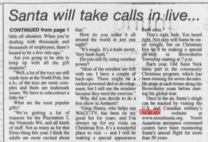 An article from the Amherst News-Times in 2006 explaining how to track Santa with NORAD.