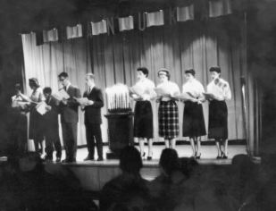 From the B'Nai B'Rith Hillel Foundation Audiovisual Collection, student choir of the B' Nai B' Rith Hillel Foundation at Ohio State University performing for Chanukah, 1958.