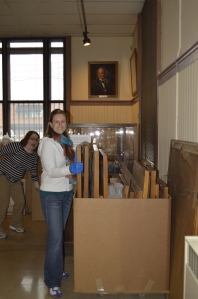 Curator Becky Odom (and Registrar Jessica Johnson) packing collections at the Museum of Ceramics prior to construction.