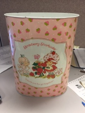 Strawberry Shortcake trashcan made by the American Greetings Company in the early 1980s.