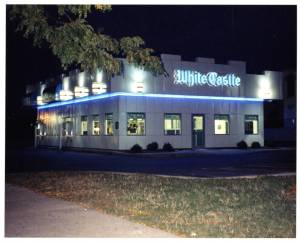 Exterior view of Cincinnati number 19 at night.  White Castle restaurants have always been known for being open late.