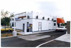 Exterior view of White Castle number 26 in Cincinnati, Ohio with a drive-through window.  It was called Cincinnati number 26 because it was the 26th White Castle restaurant opened in that city.