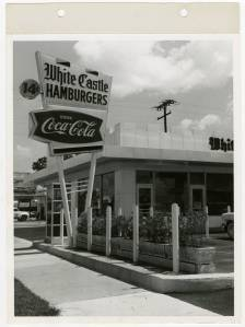 Exterior view of the first White Castle opened in Miami, Florida.