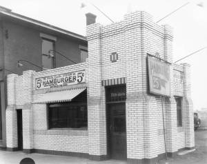 Exterior view of the first White Castle restaurant opened in Columbus, Ohio.