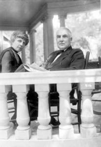 Warren G. Harding and Florence Harding sitting on the porch of their home in Marion, Ohio, during the 1920 presidential campaign.