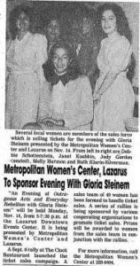 From the Ohio Jewish Chronicle, an article featuring a speaking event with Gloria Steinem held at the Downtown Lazarus Events Center.