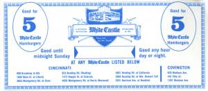 Example of White Castle coupon that was once distributed in the Cincinnati area from the White Castle corporate archives.