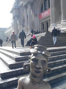 Replica of the Adena Man on the steps of the Met.  Thank you Metropolitan Museum of Art!