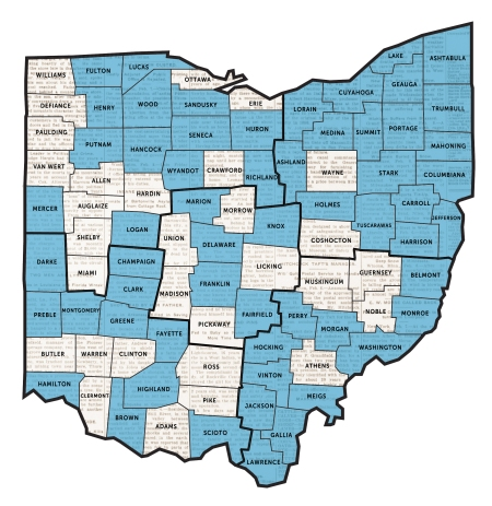 Blue-shaded counties in the map above indicate that a newspaper from this county is available online.